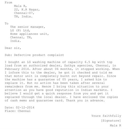 How to write a letter of complaint about a product