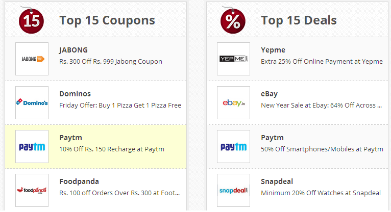 Discount coupons for online mobile recharge