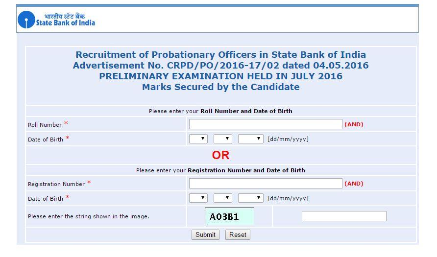 SBI PO Exam May 2016 preliminary results website