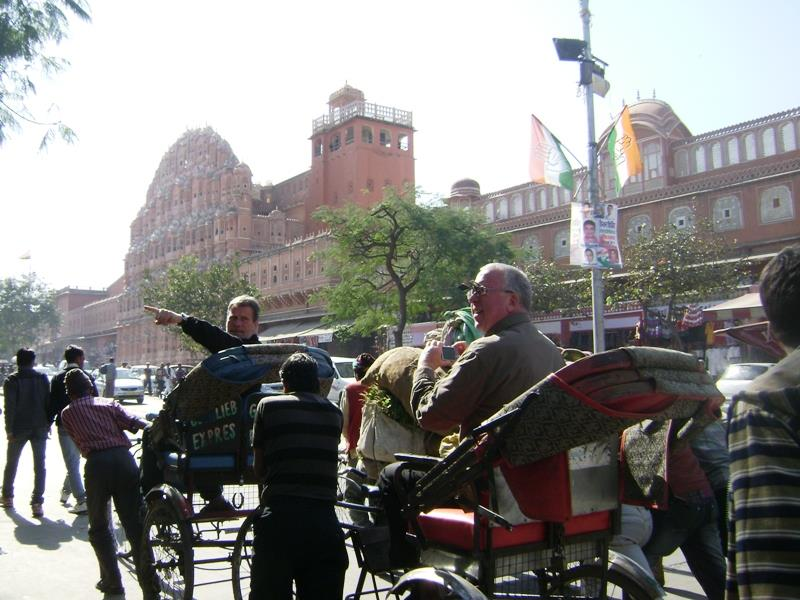 Touring Jaipur on local rickshaw with some other friends