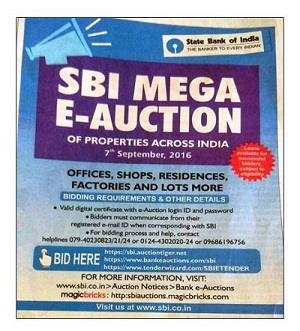 SBI e-auction advertisement September 2016