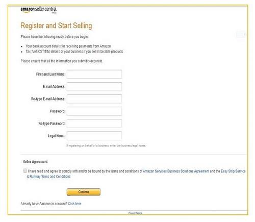 Amazon India Seller Registration form