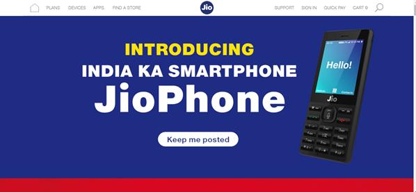 Jio Phone booking website