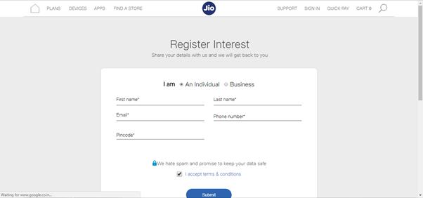 Jio mobile online buy