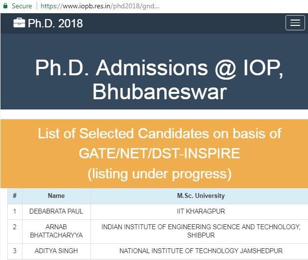 GATENETINSPIRE Selected Candidates