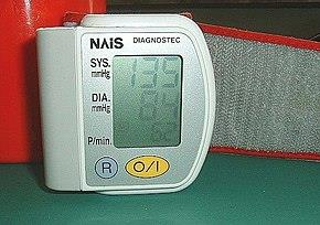 A sphygmomanometer, a device used for measuring arterial pressure