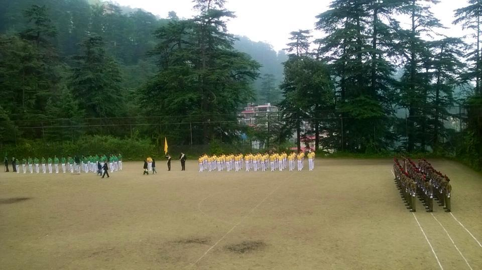 Children practicing drill,Scout and Guides in School