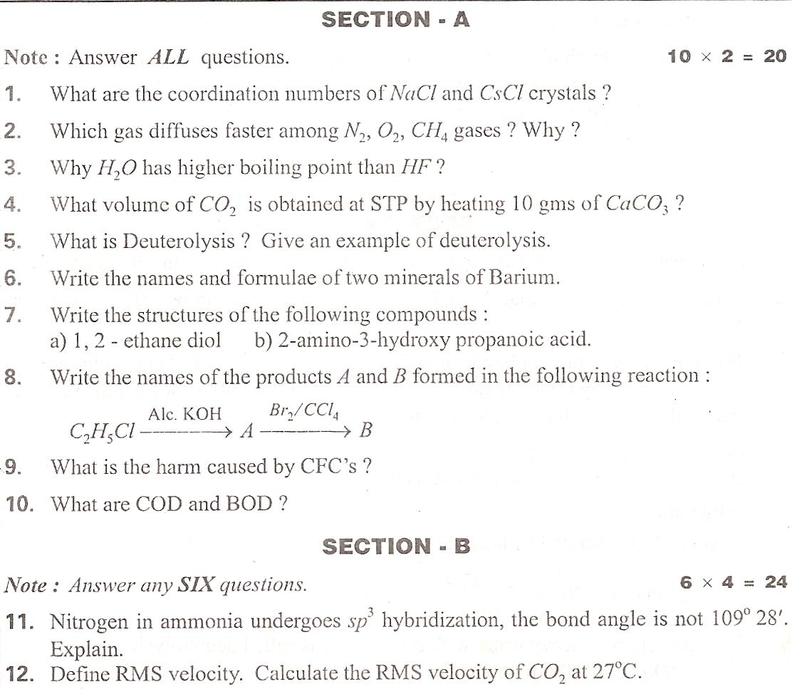 intermediate previous papers chemistry Free download of cbse class 12 chemistry previous year question paper solved by an expert teacher to register live online chemistry tuition to clear your doubts.