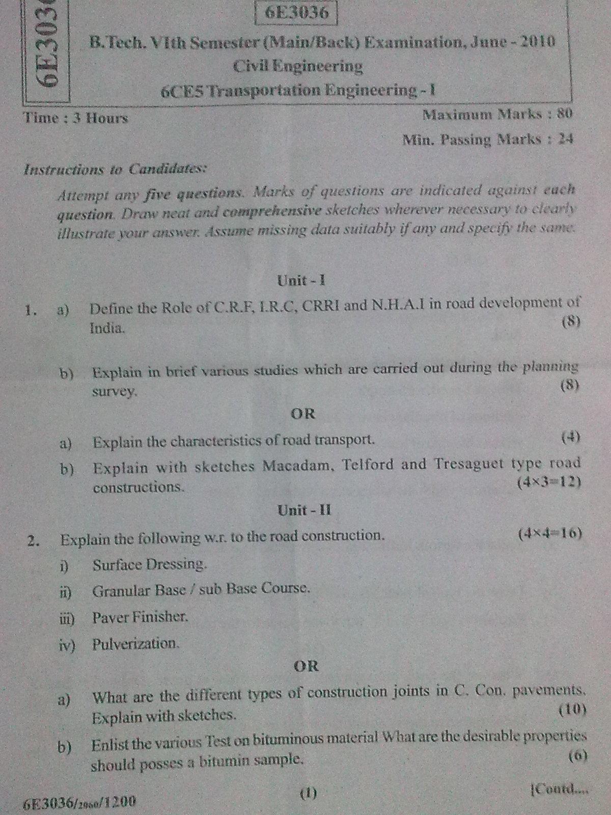 rajasthan technical university transportation engineering i