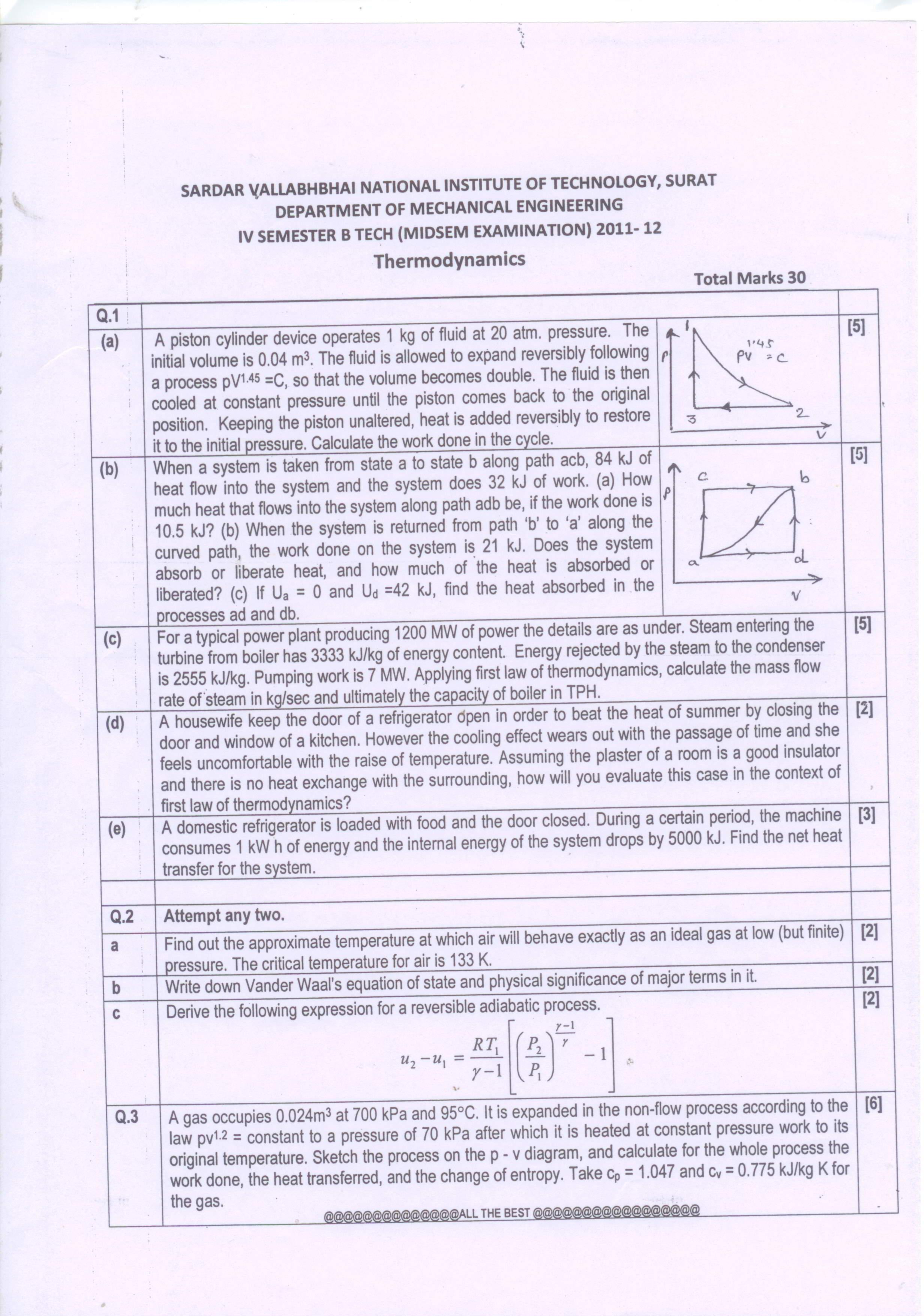thermodynamic exam paper 2012 level 1 Paper 2 - set a solutions _____ bureau of energy efficiency 1 13th national certification examination for energy managers & energy auditors - september 2012 paper – 2: energy efficiency in thermal utilities.