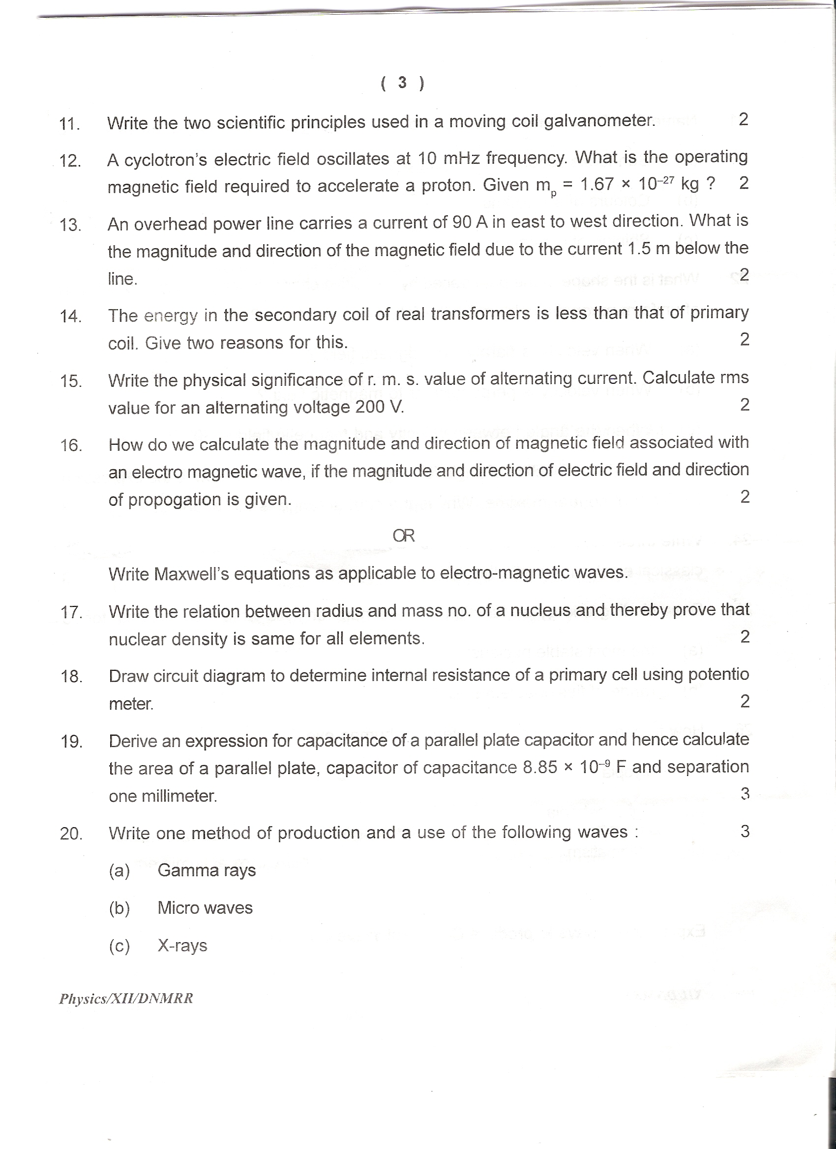plus one physics question papers