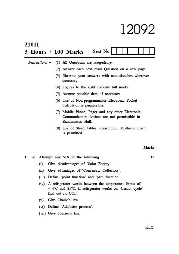 diploma in mechanical engineering question paper pdf