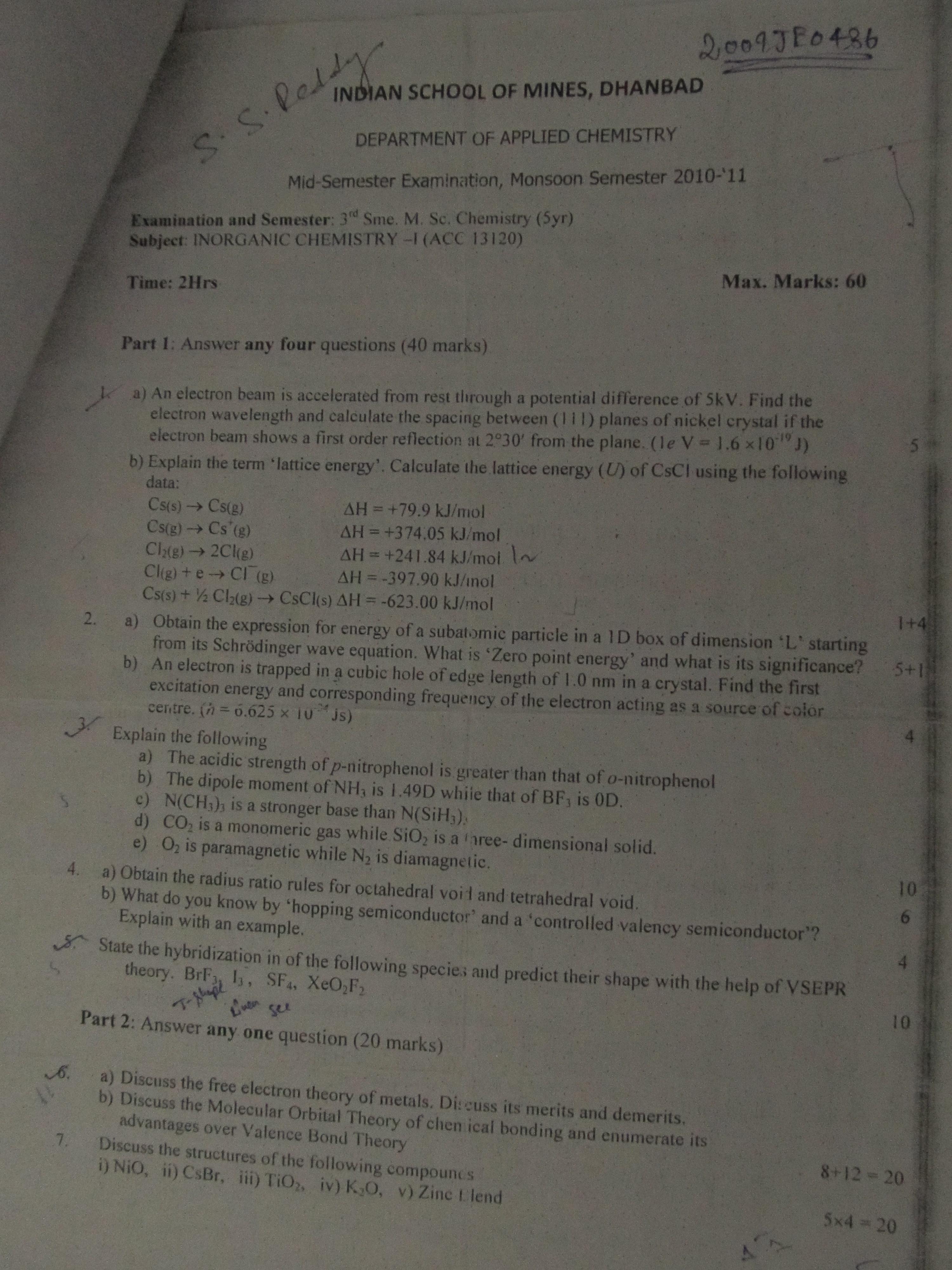 n school of mines ism dhanbad general inorganic chemistry i  inorganic chemistry i applied chemistry
