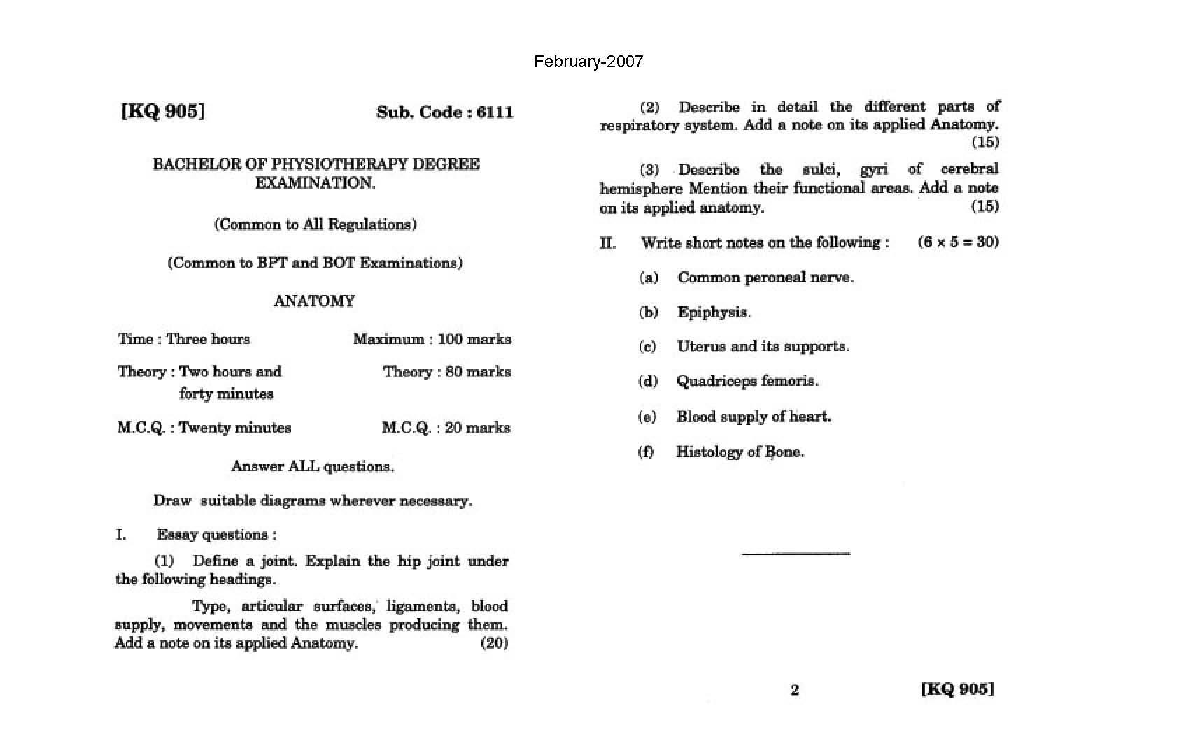 The Tamil Nadu Dr Mgr Medical University General Anatomy Feb 2006