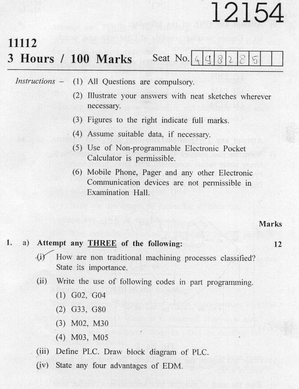 chemistry diploma paper 1 semister Msc chemistry part- i the ch – 353 pericyclic reactions, free radicals and photo chemistry semester :- iv – 1 for theory course the question paper.