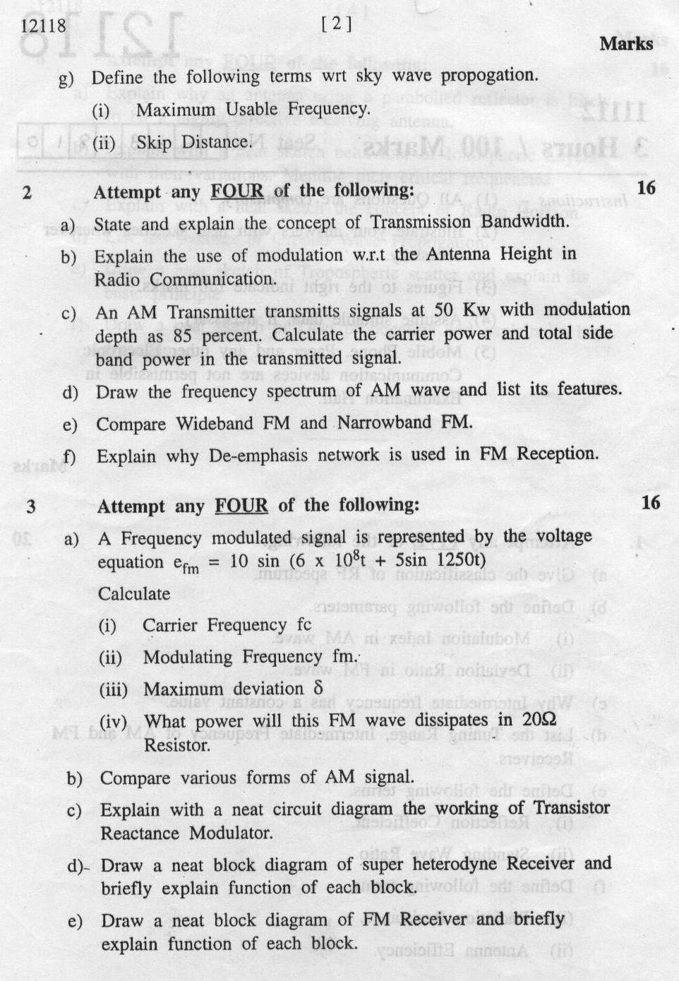 Maharashtra State Board of Technical Education MSBTE Question paper for Diploma in Electronics ...
