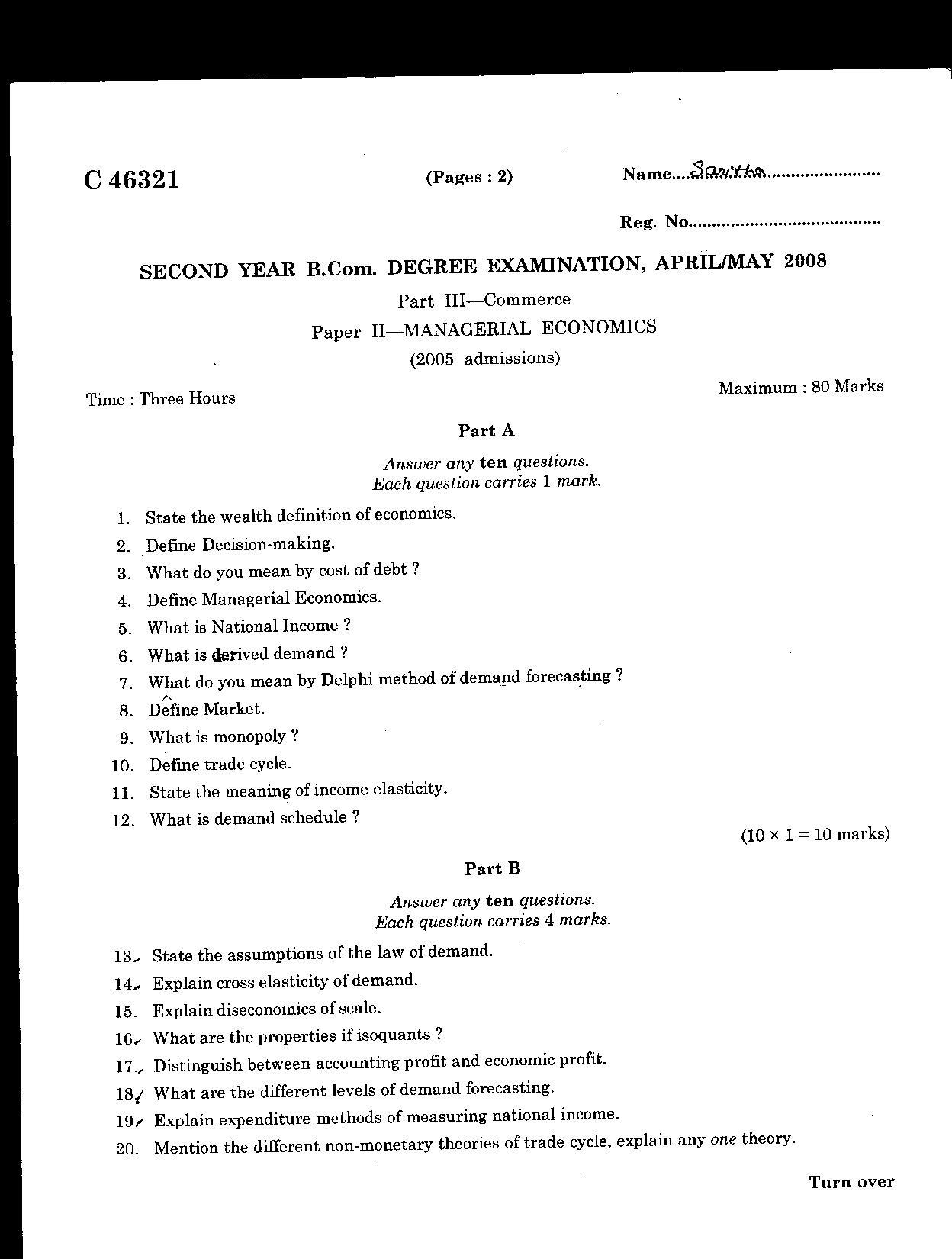 Managerial Economics Questions Papers Pune University