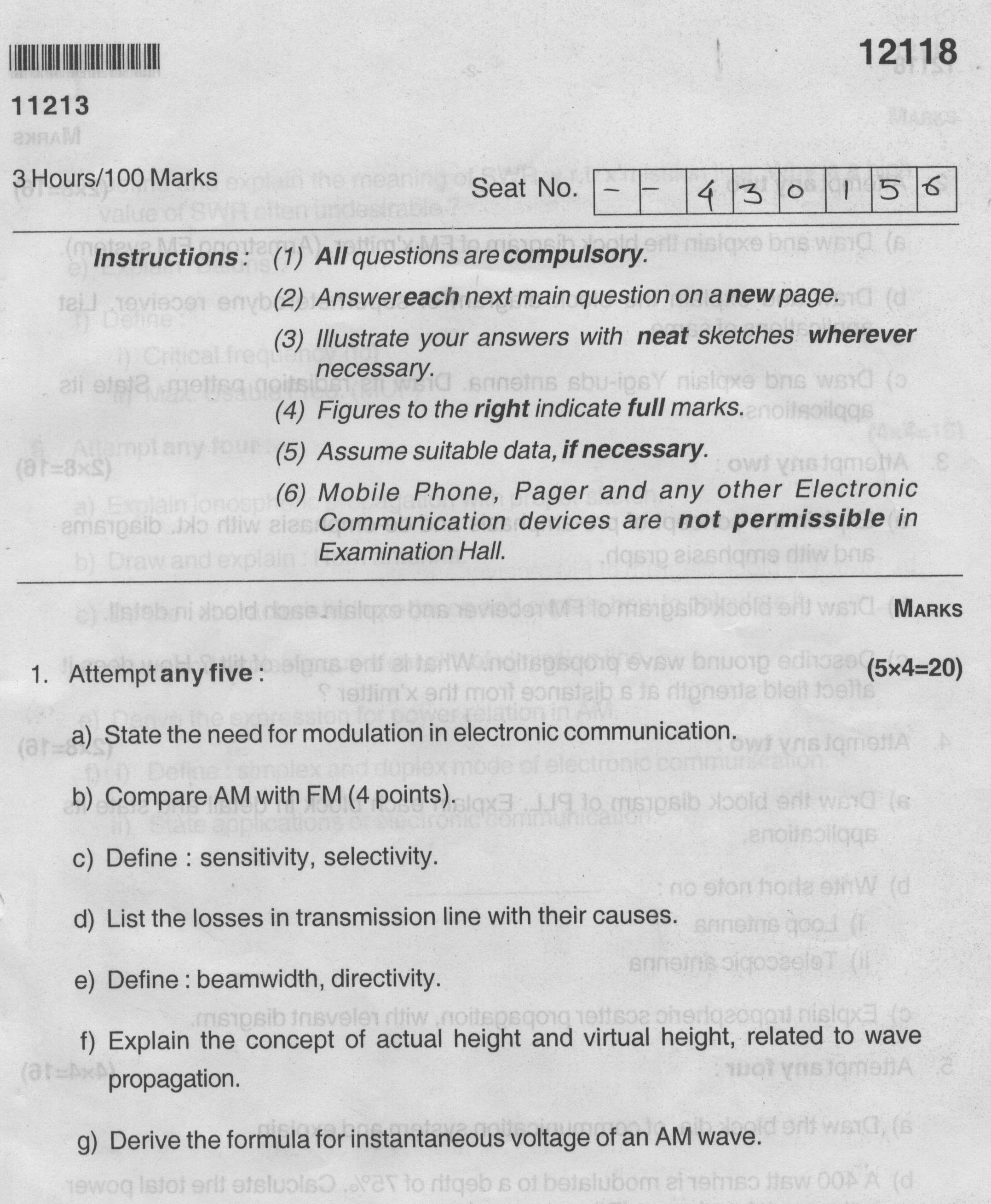 maharashtra state board of technical education general msbte  msbte question paper for diploma in electronics and telecommunication engineering group fourth semester subject analog communication 12031