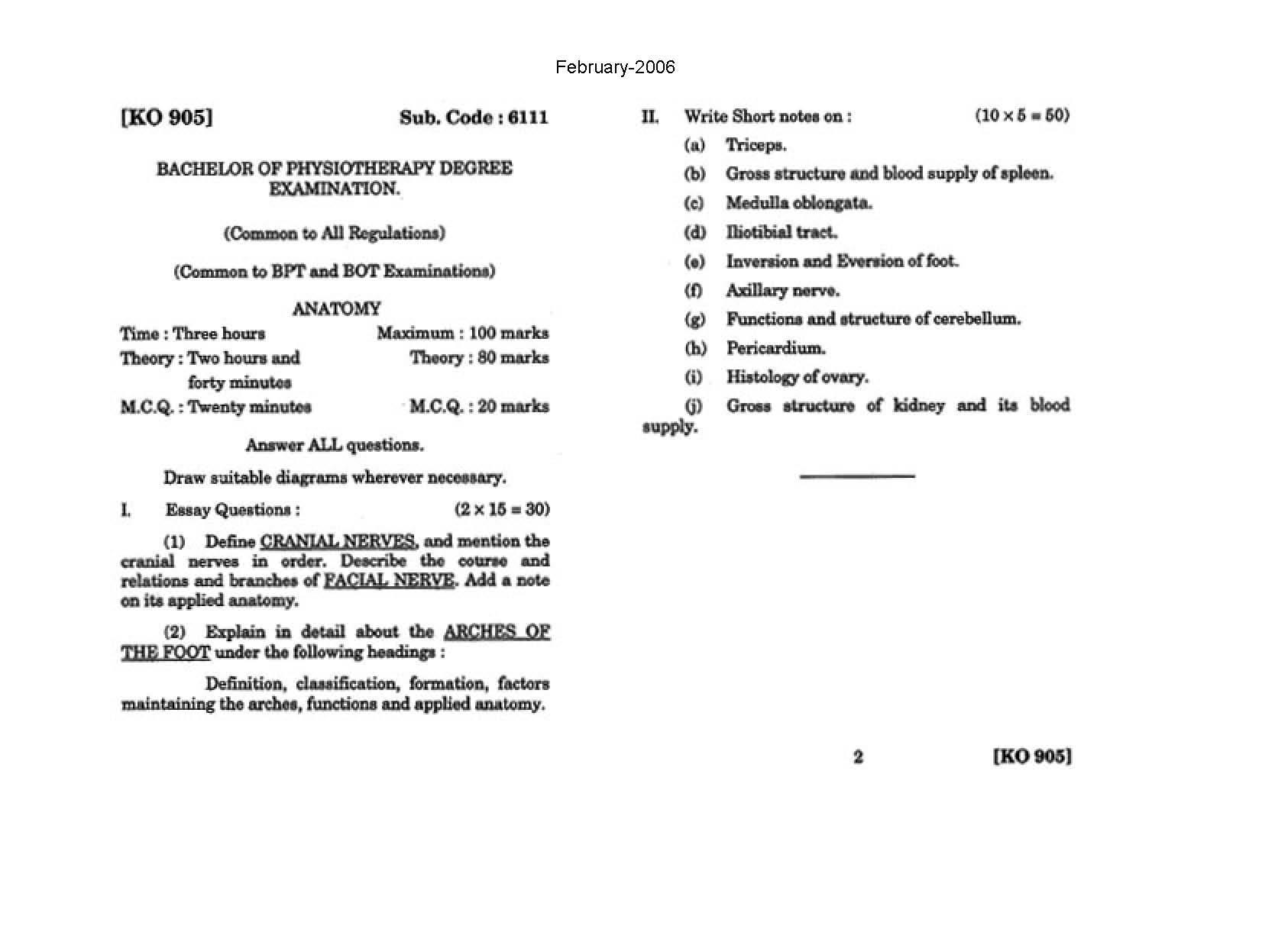 The Tamil Nadu Dr Mgr Medical University General Anatomy February