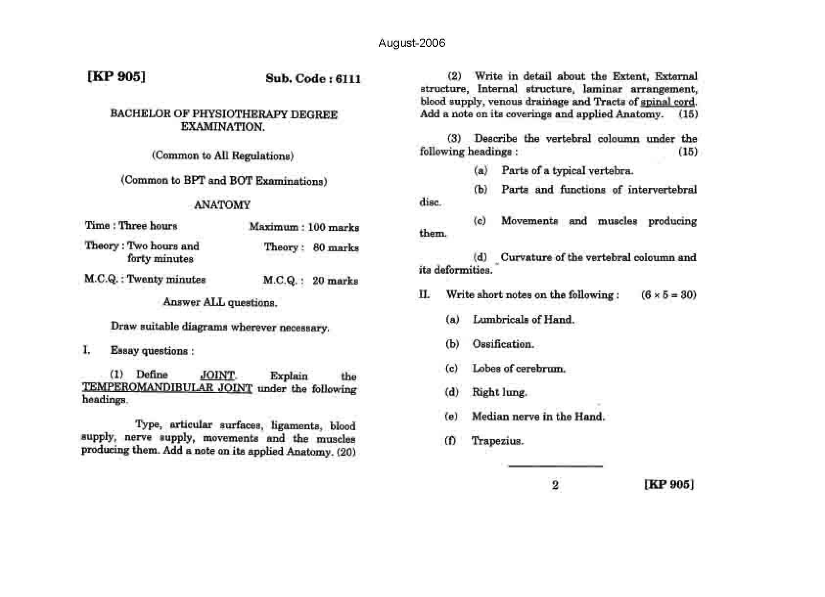 The Tamil Nadu Dr Mgr Medical University General Anatomy August