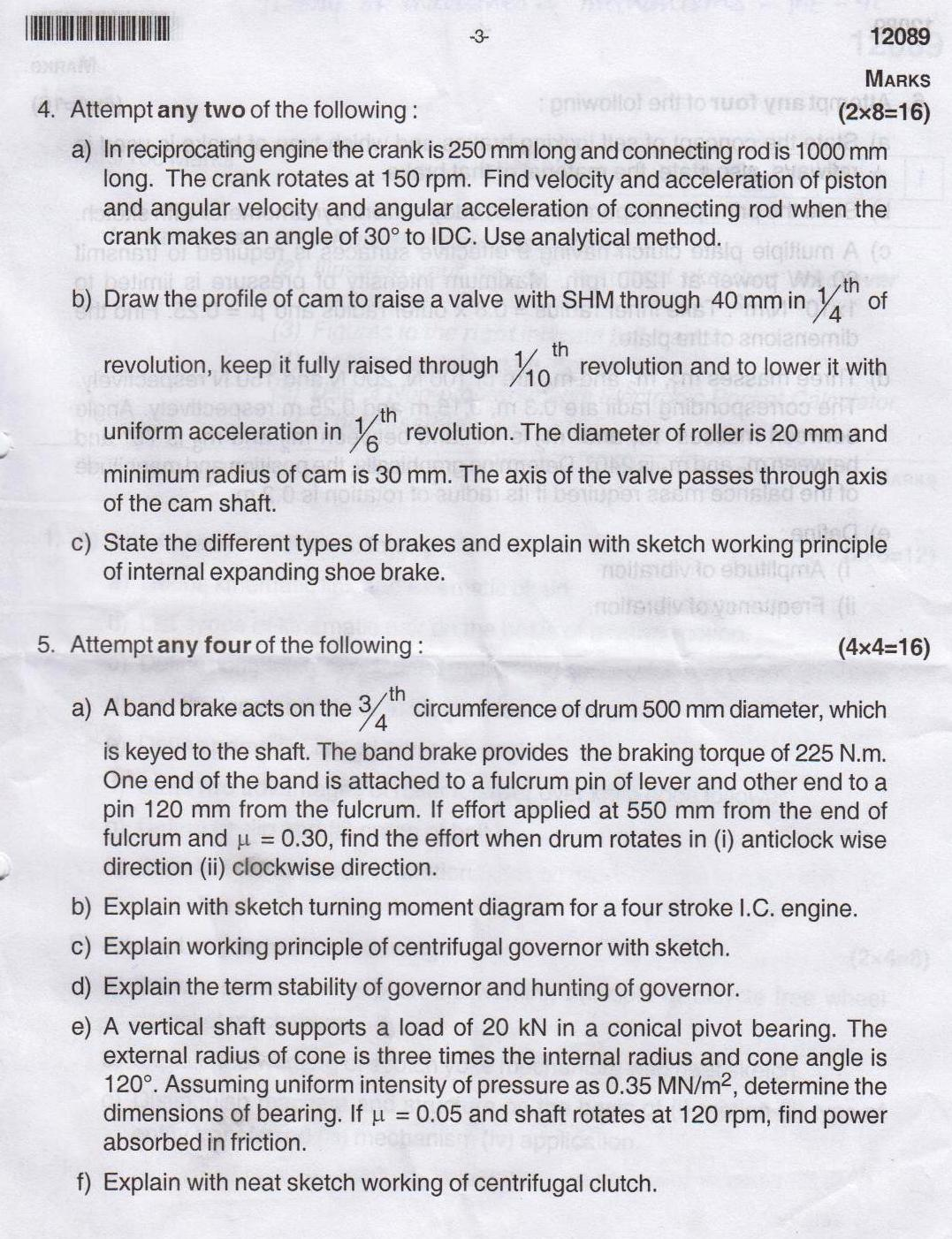 Mcq for mechanical diploma