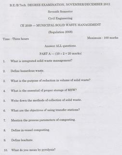 CE2039 Municipal Solid Waste Management Anna Univ Nov Dec 2012