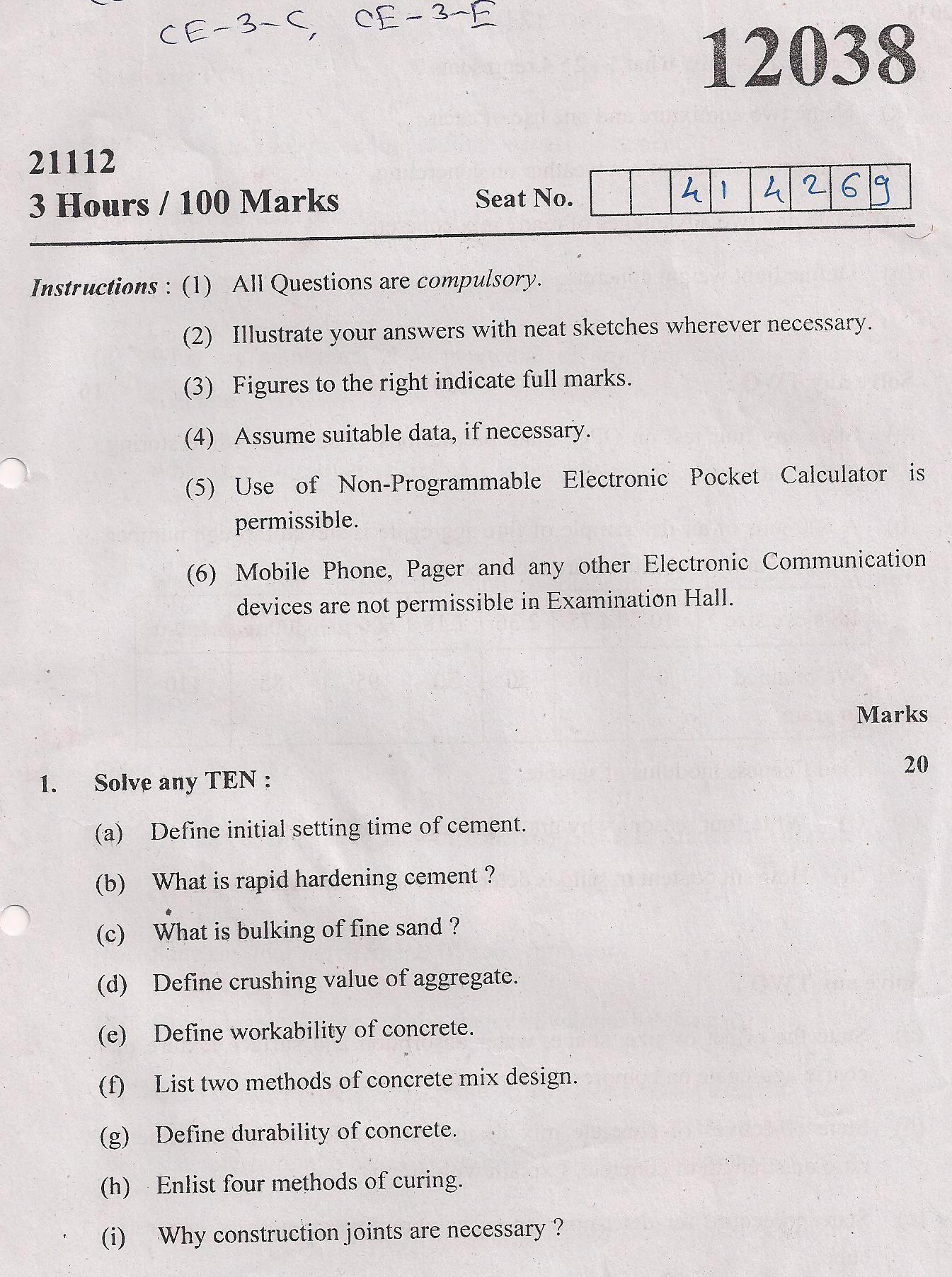 maharashtra state board  technical education msbte question paper  diploma  civil