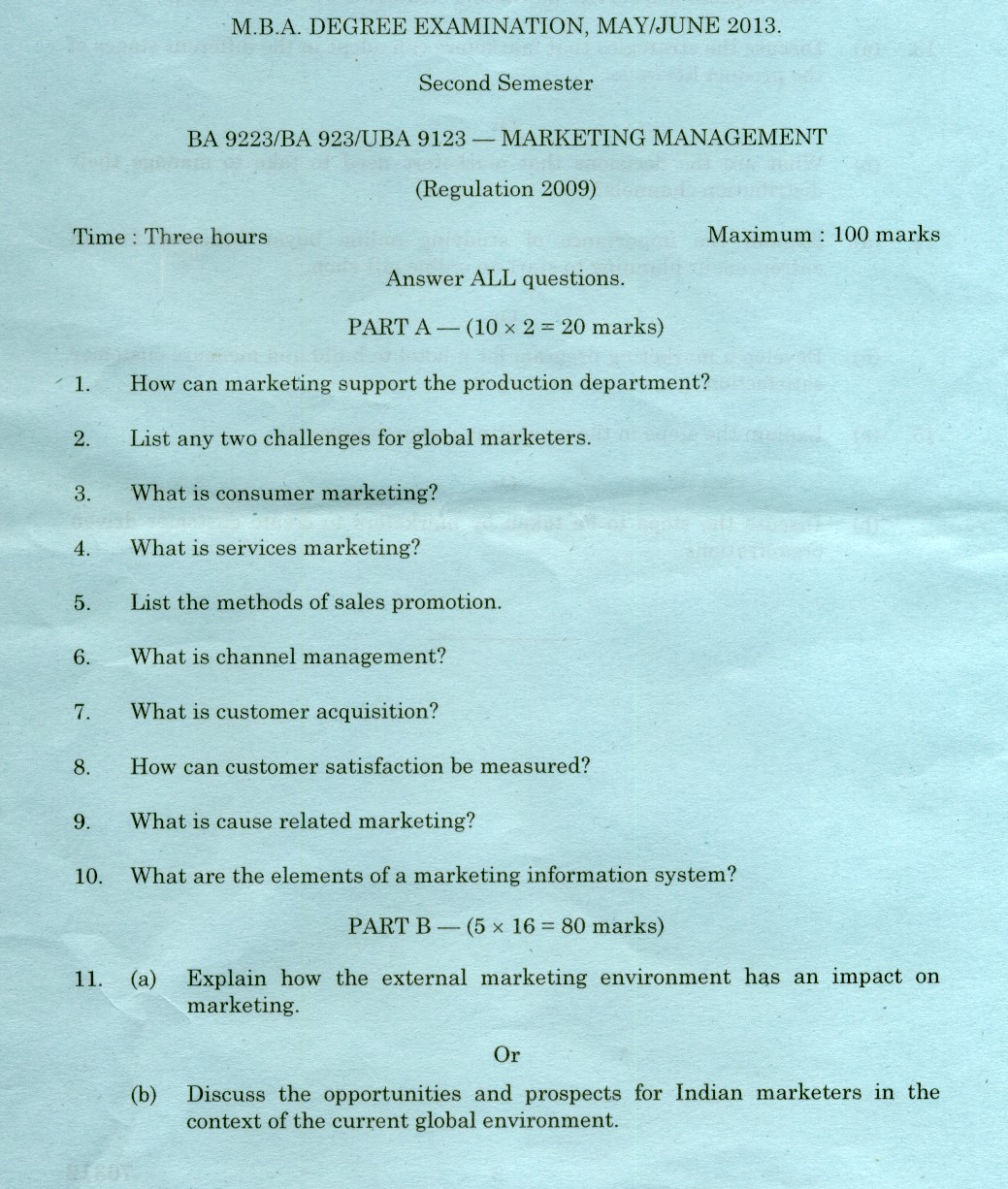 Kerala University MARKETING MANAGEMENT May 2016 Question Paper