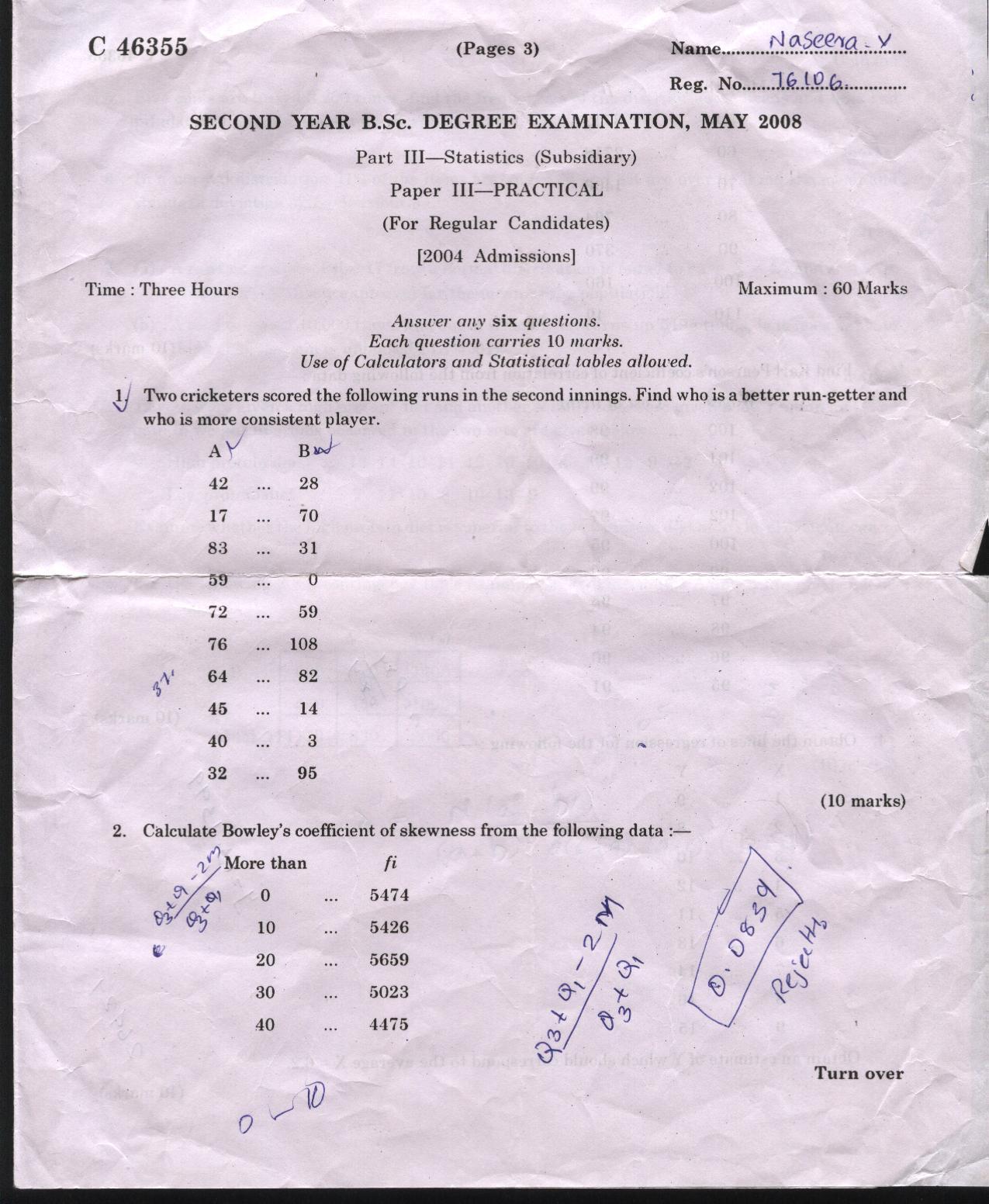 university of calicut math part iii statistics