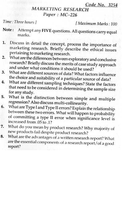 Paper on market research