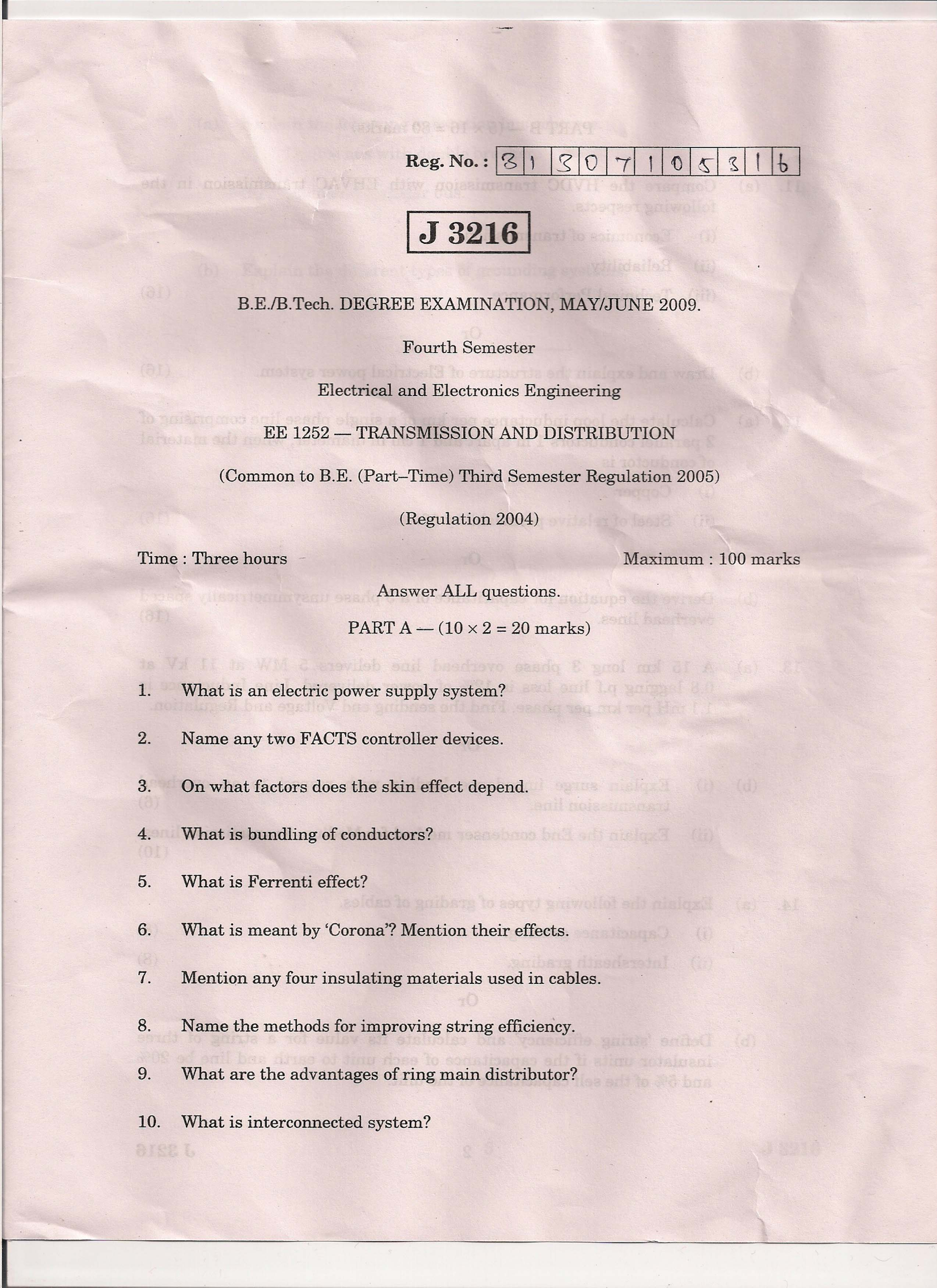 EE2303 TRANSMISSION AND DISTRIBUTION MAY/JUNE 2009 Fifth Semester