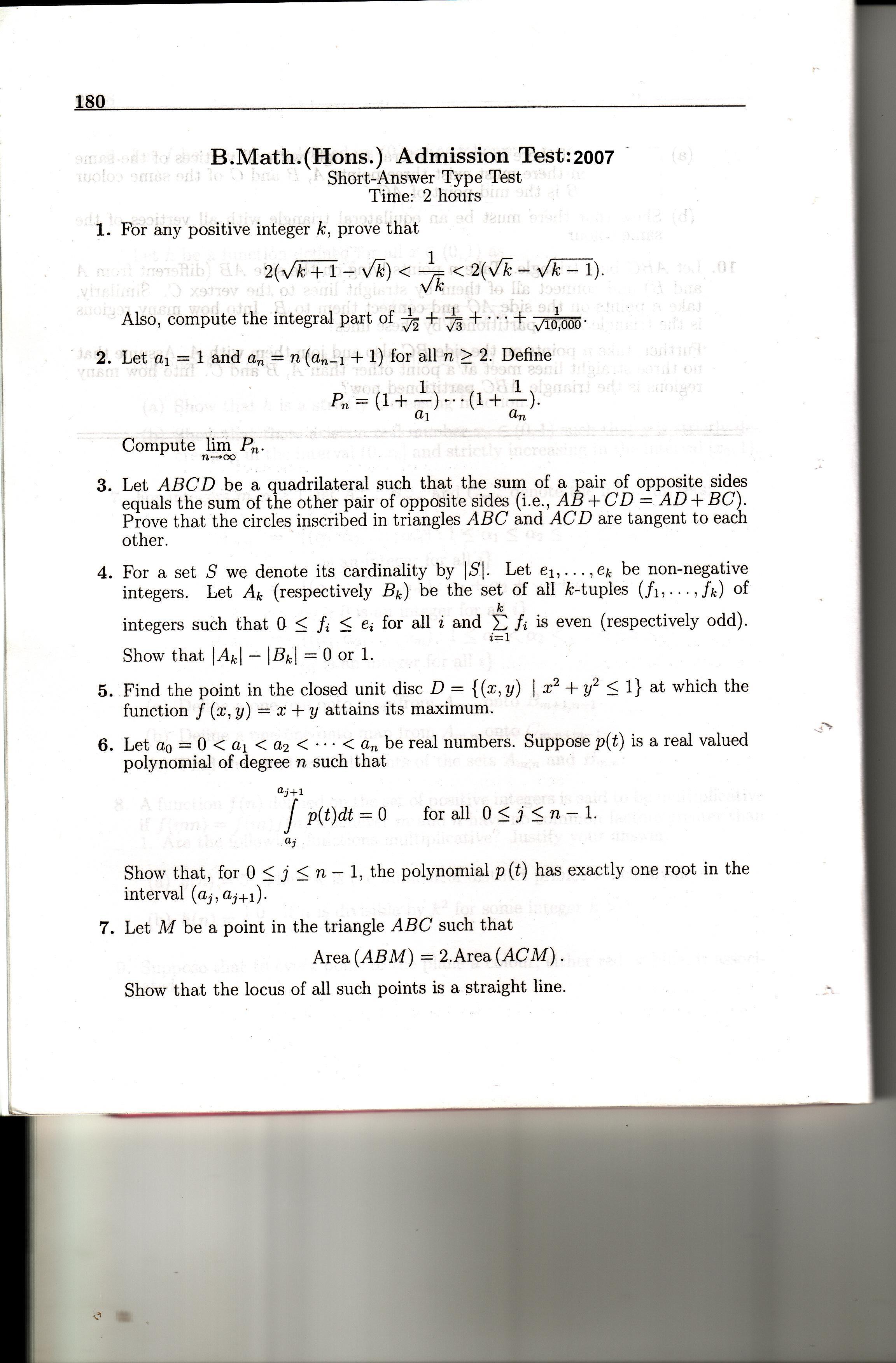 Indian Statistical Institute B Math Admission Test 2007