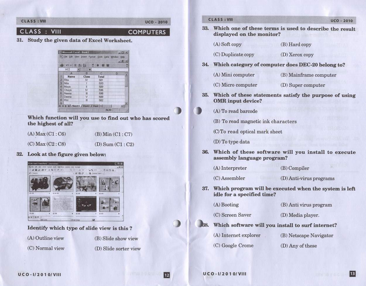 Cbse uco 2010 class viii unified cyber olympiad computer 08 unified cyber olympiaduco 2010 computer science paper for class viii download malvernweather
