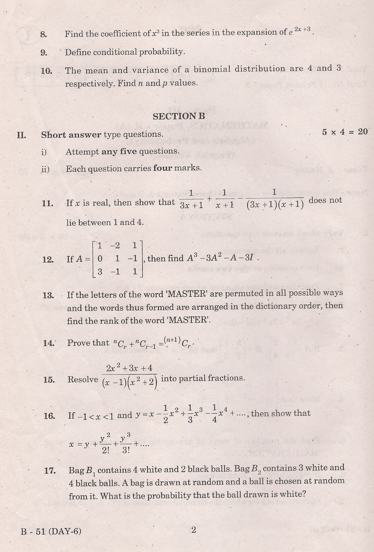 mathematics intermediate 2 past papers