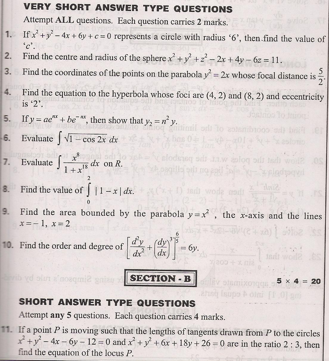 Board of intermediate question papers 2009