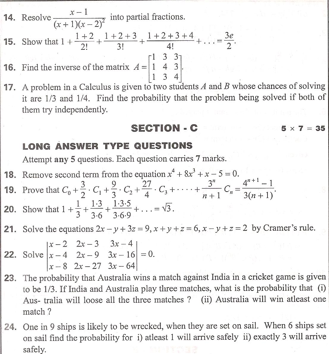 Andhra pradesh state mathematics ii a state syllabus intermediate return to question paper search malvernweather Images