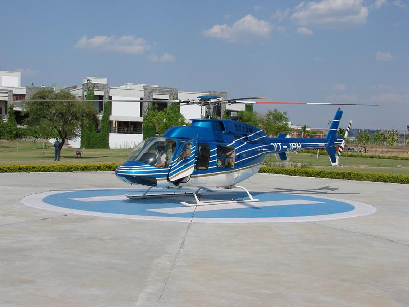 Helicopter and helipad in JUET guna campus near girls hostel