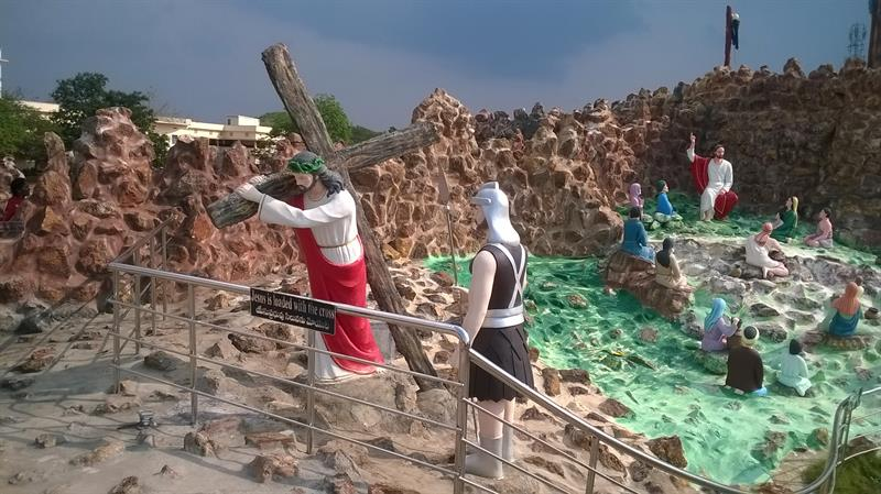 """Jesus loaded with a cross""- A beautiful scene seen at Holy Land, Pinakadimi, Eluru, A.P., India"