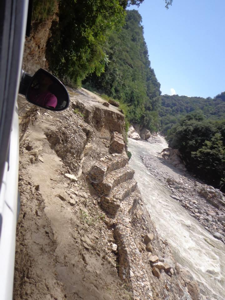 Road washed away in the Uttrakhand floods