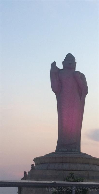 Statue of Buddha in Hussainsagar Lake in Hyderabad