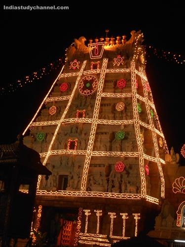 Tirupathi Venkateshwara Swamy Temple Decorated with Lights