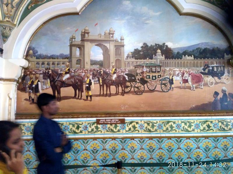 A Painting showing State Carriage in Mysore Palace