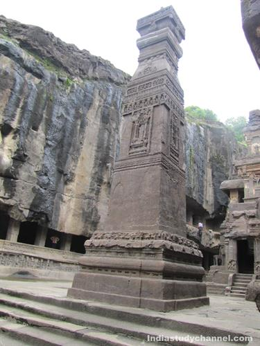 Stone Carved Pillar at Kailash Temple in Ellora Caves