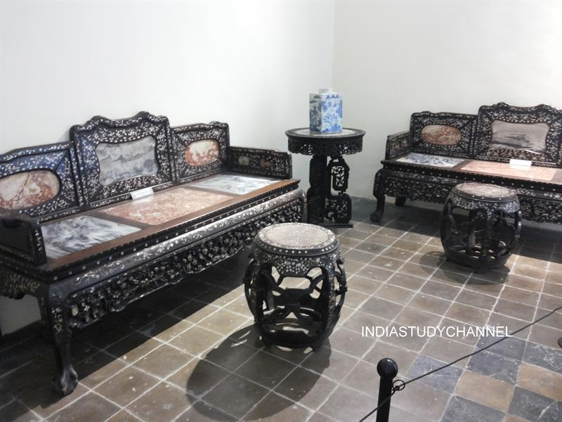 Drawing room furniture Yorkshire House, UK as seen in Chhatrapati Shivaji Museum, Mumbai