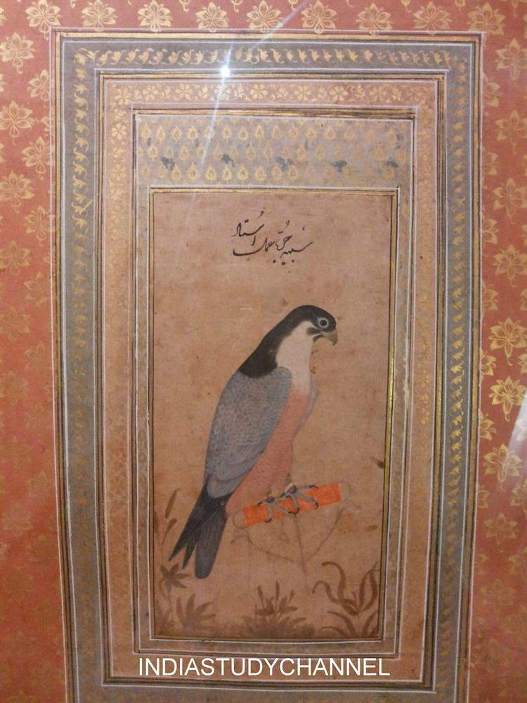 Mughal style miniature painting of Akbars time (1556-1605) as seen in Chhatrapati Shivaji Museum