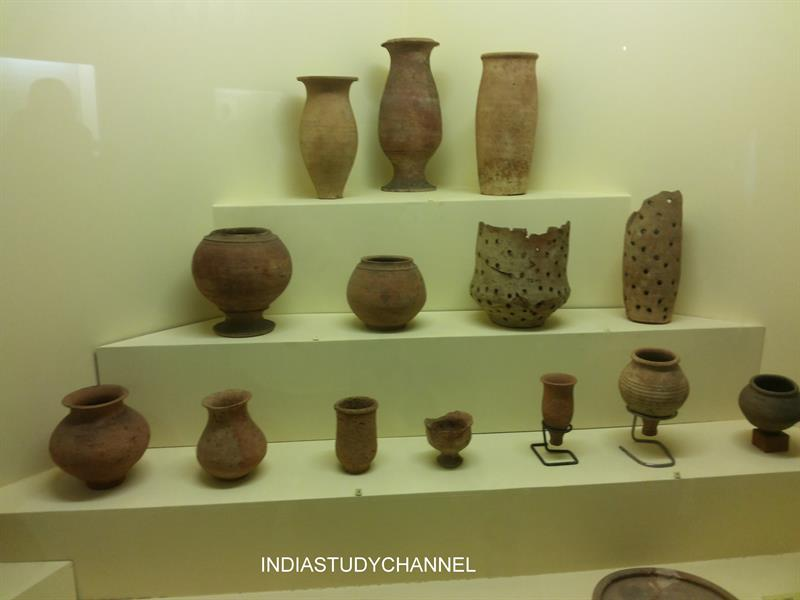 Various types of pots used in Harappan Civiization as seen in Chhatrapati Shivaji Museum, Mumbai