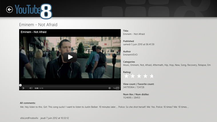 Review of YouTube8 app for Windows 8