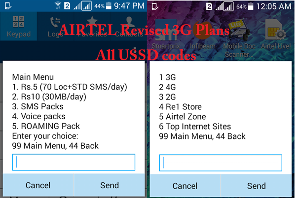 Airtel latest 3G plans and useful guide on all USSD codes