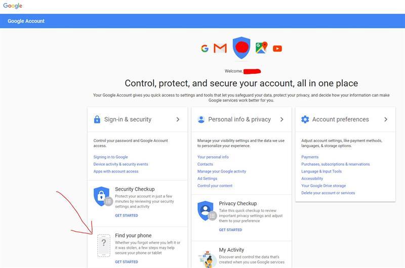 Google MyAccount Start 1