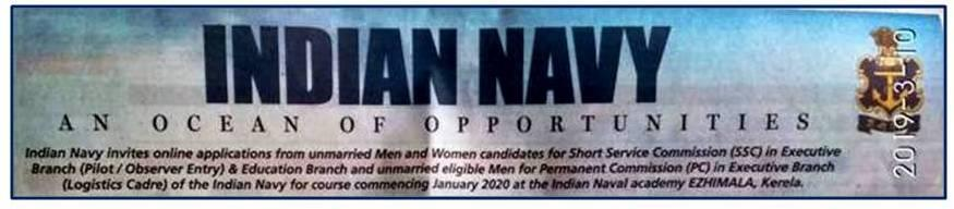 Indian Navy 2020 recruitment advt